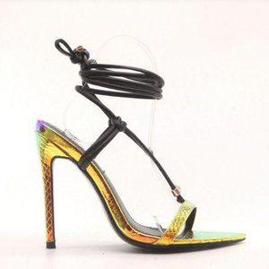 Mermaid Metallic & Black  Ankle Wrap Heels